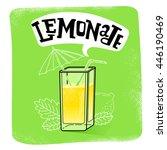 fresh lemon juice  slice with... | Shutterstock .eps vector #446190469