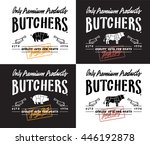 butchers produce. lettering... | Shutterstock .eps vector #446192878