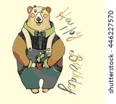 bear with lettering  happy... | Shutterstock .eps vector #446227570