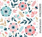 flower seamless pattern. floral ... | Shutterstock .eps vector #446230600