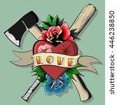 love and hate print baseball... | Shutterstock .eps vector #446238850