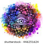 third eye with floral mandala... | Shutterstock .eps vector #446251624