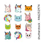 animal patches set  colorful... | Shutterstock .eps vector #446252974