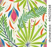 seamless jungle leaf pattern on ... | Shutterstock . vector #446253268