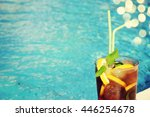 ice tea with straw and lemon in ... | Shutterstock . vector #446254678