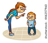 mother scolds the child | Shutterstock .eps vector #446257960
