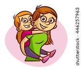 mother and child having fun | Shutterstock .eps vector #446257963