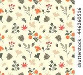 autumn flower vector seamless... | Shutterstock .eps vector #446260516