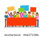protesters with banners.... | Shutterstock .eps vector #446271586