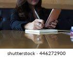 young woman wearing smartwatch... | Shutterstock . vector #446272900