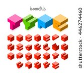 isometric 3d font  three... | Shutterstock .eps vector #446274460