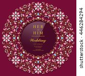 wedding invitation or card with ...   Shutterstock .eps vector #446284294