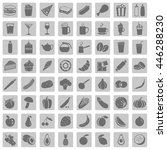 vector set of 64 food icons....   Shutterstock .eps vector #446288230