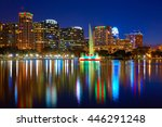 orlando skyline sunset at lake... | Shutterstock . vector #446291248