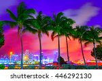 Miami Skyline At Sunset With...