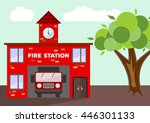 building of fire station with a ... | Shutterstock .eps vector #446301133