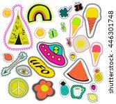 hippie embroidery neon hand... | Shutterstock .eps vector #446301748