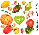 vegan banner  watercolour... | Shutterstock . vector #446310160