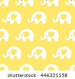 yellow cute elephants pattern.... | Shutterstock .eps vector #446321158
