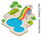 summer fun at pool. child with... | Shutterstock . vector #446321740