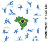 eighteen sport icon sets design ... | Shutterstock .eps vector #446331130