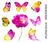 Seven Pink Yellow Butterflies...