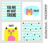 Stock vector set of cute greeting cards for best friends vector illustrations 446338999