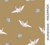 seamless pattern with origami ... | Shutterstock .eps vector #446349424