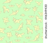seamless pattern with origami ... | Shutterstock .eps vector #446349430