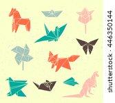 set of japanese origami figures   Shutterstock .eps vector #446350144