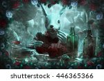 Stock photo mad white rabbit white and red roses mushrooms and fog illustration to the fairy tale alice in 446365366