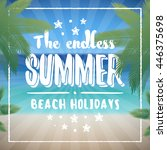 vector summer beach badge on... | Shutterstock .eps vector #446375698