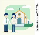 couple in love in front of... | Shutterstock .eps vector #446376796