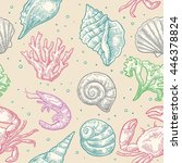 seamless pattern sea shell ... | Shutterstock .eps vector #446378824