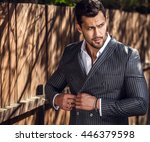 elegant handsome man in... | Shutterstock . vector #446379598
