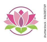 lotus in circle | Shutterstock .eps vector #446385769