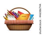 school supplies in wicker... | Shutterstock .eps vector #446386744