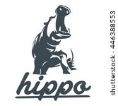 hippopotamus and hippo later | Shutterstock .eps vector #446388553