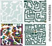 set of maze for children.  | Shutterstock .eps vector #446406886