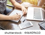 mage of document with charts on ... | Shutterstock . vector #446409610
