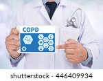 Small photo of COPD Chronic obstructive pulmonary disease Doctor holding digital tablet