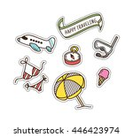 summer and travel themed cute... | Shutterstock .eps vector #446423974