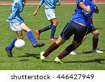 children play soccer in summer | Shutterstock . vector #446427949