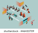info graphic of workout at gym | Shutterstock .eps vector #446433709