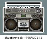 boombox cassette stereo... | Shutterstock .eps vector #446437948
