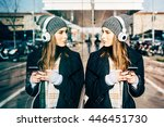 half length of young beautiful... | Shutterstock . vector #446451730