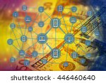 the digital currency or coded... | Shutterstock . vector #446460640