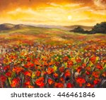 Field Of Red Poppies At Sunset...