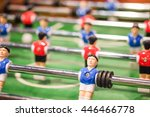 Small photo of Red and blue player on football table game, soccer table game from top down, Sport Background concept