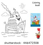 funny cartoon ship. coloring... | Shutterstock .eps vector #446472508